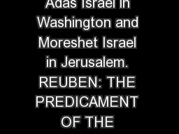 Brian Weinstein, PhD., has taught political science at Howard University. He is a member of Adas Israel in Washington and Moreshet Israel in Jerusalem. REUBEN: THE PREDICAMENT OF THE FIRSTBORN  BRIAN WEINSTEIN    Reuben, the firstborn of Jacob, is not the