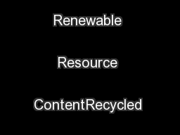 Carbon Footprint ReductionRapidly Renewable Resource ContentRecycled Content ...
