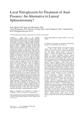 Local Nitroglycerin for Treatment of Anal Sphincterotomy? Heinz Bacher, M.D, Hans-J