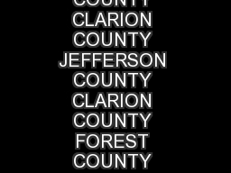 FOREST COUNTY CLARION COUNTY JEFFERSON COUNTY CLARION COUNTY FOREST COUNTY JEFFERSON COUNTY COOKSBURG COOK