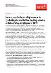 Notes to EditorsThe Graduate Market in 2015is produced by High Fliers Research, the independent market research company which has specialised in researching graduate recruitment at UK universities since 1994. included in The Graduate Market in 2015 resear