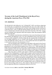 Tyranny of the Lash? Punishment in the Royal Navy