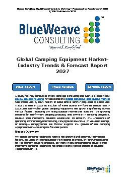 Camping Equipment Market Size, Share, Growth & Forecast 2027   BlueWeave