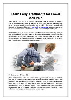Learn Early Treatments for Lower Back Pain!