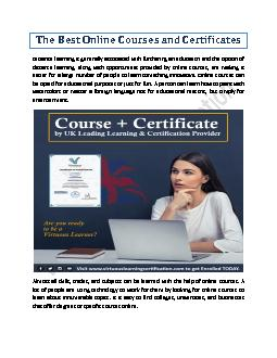 The Best Online Courses and Certificates