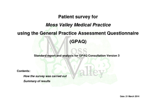 Patient survey for Moss Valley Medical Practice  using the General Pra PDF document - DocSlides