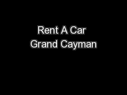 Rent A Car Grand Cayman