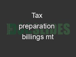 Tax preparation billings mt