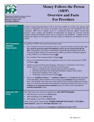 Money follows the person overview and facts for providers