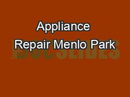 Appliance Repair Menlo Park