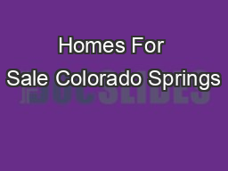 Homes For Sale Colorado Springs