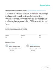 NicotinamideforestallspathologyandcognitivedeclineinAlzheimermice:evid