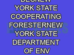 DECNEW YORK STATE COOPERATING FORESTERNEW YORK STATE DEPARTMENT OF ENV