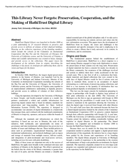 The library never forgets preservation cooperation and the making of hathitrust digital library