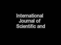 International Journal of Scientific and