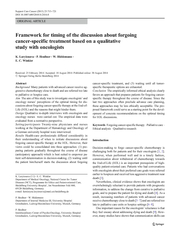 Framework for timing of the discussion about forgoing cancer-specific treatment based on a qualitative study  with oncologists