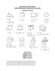 Geometry Formula Sheet2009Mathematics Standards of LearningGeometric F