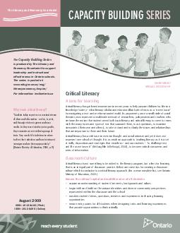 CAPACITY BUILDING SERIES The Literacy and Numeracy Secretariat The Capacity Building Series is produced by The Literacy and Numeracy Secretariat to support leadership and instructional effectiveness i