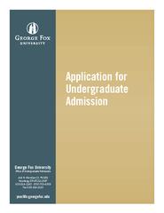 Application for undergraduate admission