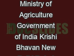 No    Creditl Department of Agriculture  Cooperation Ministry of Agriculture Government of India Krishi Bhavan New Delhi Dated the t November  To