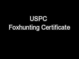 USPC Foxhunting Certificate