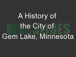 A History of the City of Gem Lake, Minnesota