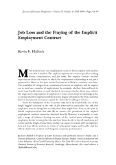 Job Loss and the Fraying of the ImplicitEmployment Contract