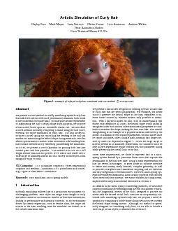 Artistic Simulation of Curly Hair Hayley Iben Mark Meyer Lena Petrovic Olivier Soares John Anderson Andrew Witkin Pixar Animation Studios Pixar Technical Memo a Figure  Example of stylized curly hair
