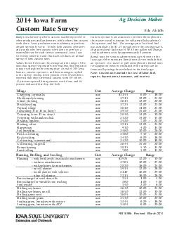 Iowa Farm Custom Rate Survey File Ab FM b Revised March  Ag Decision Maker Many Iowa farmers perform custom machinery work for other producers and landowners while others hire custom work done