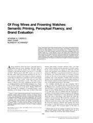 Of Frog Wines and Frowning Watches:Semantic Priming, Perceptual Fluency, andBrand Evaluation