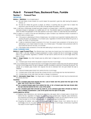 Rule 8 Forward Pass, Backward Pass, Fumble Section 1 Forward Pass ...