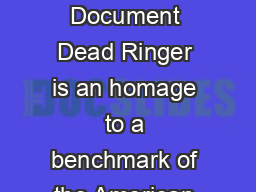 Official NORTHERN BREWER Instructional Document Dead Ringer is an homage to a benchmark of the American IPA style thats brewed in Michigan