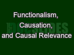 Functionalism, Causation, and Causal Relevance