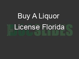 Buy A Liquor License Florida