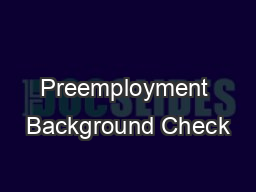 Preemployment Background Check