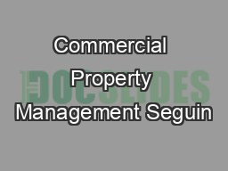 Commercial Property Management Seguin