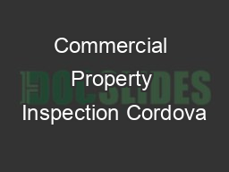 Commercial Property Inspection Cordova