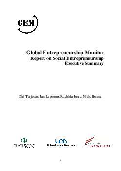 1   Global Entrepreneurship Monitor Report on Social Entrepreneurship