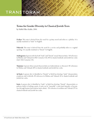 Terms for Gender Diversity in Classical Jewish Texts