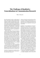 Generalisations in Communication Research