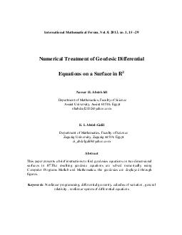 International Mathematical Forum, Vol. 8, 2013, no. 1, 15 - 29Numerica