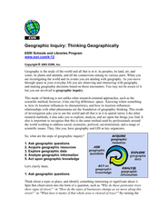 Geographic Inquiry: Thinking Geographically  ESRI Schools and Librarie