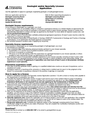 Use this application to apply for a geologist, engineering geologist,