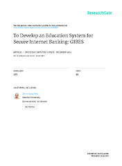 To Develop an Education System for Secure Internet Banking: GIBES Zerr
