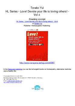 Torako Yui HL Series  Love Devote your life to loving others  Vol  Reading excerpt HL Series  Love Devote your life to loving others  Vol  of Torako Yui Publisher Homoeopathic Publishing httpwww