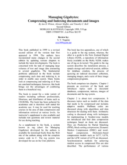 Managing Gigabytes:  By Ian H. Witten, Alistair Moffat, and Timothy C.