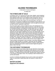 GILDING TECHNIQUES A description of various techniques  by Aidan Hart