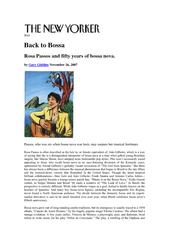 Jazz Back to Bossa Rosa Passos and fifty years of bossa nova. by Gar