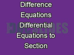 Difference Equations Differential Equations to Section