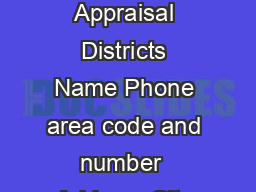 Property Tax Form  Application for Disabled Veterans or Survivors Exemption   Appraisal Districts Name Phone area code and number  Address City State ZIP Code This document must be led with the apprai